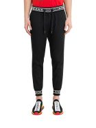 Dolce & Gabbana Stretch Jogging Pants With Wool Jacquard Inserts - Nero