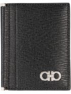 Salvatore Ferragamo Gancini Leather Card Holder - black