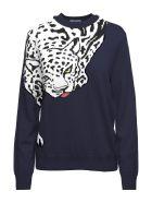 Krizia Leopard-intarsia Wool-knit Sweater - Blu