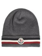 Moncler Stripe Detail Patched Beanie - Grey