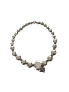 Alexander McQueen Metal Silver Pearl Skull Bracelet - Silver