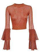 self-portrait Flared Cropped Top - Rust