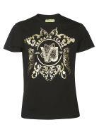 Versace Metallic Logo Print T-shirt - Black