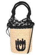 Miu Miu Woven Straw Bucket Bag - BLACK + NATURALE