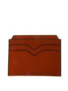 Valextra Orange Cardholder In Pebbled Leather Texture - Orange
