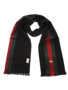 Gucci Silk & Cashmere Web Scarf - Black/green