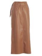 Nanushka Skirt Straight Satin - Brown