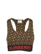 Burberry Monogram Print Stretch Jersey Cropped Top - Bridle Brown