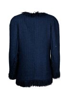 Edward Achour Paris Tweed Coat With Fringes - Blue