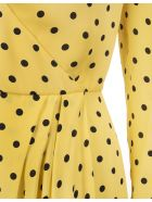 RED Valentino Short Yellow Dress With Black Polka Dots - Giallo/nero
