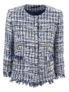 Tagliatore Blue Cotton Blend Milly Tweed Jacket - Fant blu