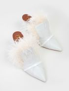 Malone Souliers Feather Fur Trim Mules - White
