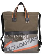 Dolce & Gabbana Canvas Backpack With Logo - green