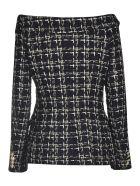 Faith Connexion Cold Shoulder Tweed Jacket - Black001