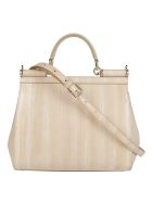Dolce & Gabbana Beige Leather Medium Sicily Bag - Beige