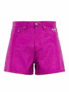 MSGM Metallic High-waist Shorts - FUCHSIA