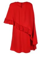 Valentino Viscose Dress With Rouche/mantellina - Red