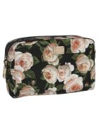 Dolce & Gabbana Floral Print Make-up Bag - black
