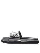 MICHAEL Michael Kors Metallic Silver Leather Slides With Mk Logo - Silver