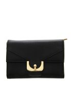 Coccinelle Black Wallet In Leather With Buckle - Black