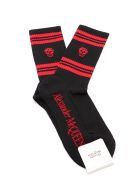 Alexander McQueen Socks Stripe Skull - Black/red