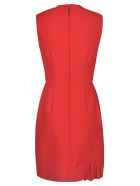 MSGM Pleat Applique Sleeveless Dress - ROSSO