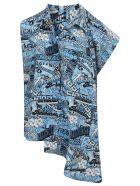 Balenciaga Sticker Logo Blouse - Blue