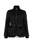 Elisabetta Franchi Celyn B. Full Zip Padded Jacket With Belt - black