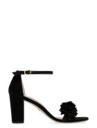 Stuart Weitzman Nearlynude Flower Suede Sandals - black