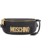 Moschino Logoed Leather Belt Bag - black