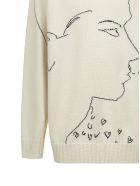 Calvin Klein Silhouette Embroidered Sweater - Ecru nero
