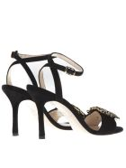 Marc Ellis Black Suede Gems Inserts Sandals - Black