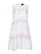 Simone Rocha Sleeveless Flared Dress - White Red Pink