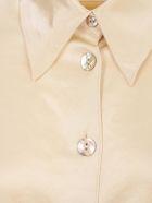 Nanushka Mandine Shirt L/s Satin Rounded Neck - Wax Yellow