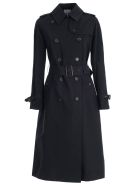 Aspesi Belted Trench Coat - Blu Navy