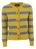 Happy Sheep Striped Cardigan - Yellow/grey