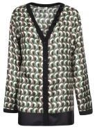 Max Mara The Cube V-neck Printed Cardigan - Green/Black