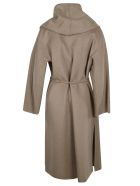 Max Mara Drawstring Tie Waist Wrapped Coat - Pale Brown