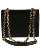 Moschino Logo Plaque Flap Chain Shoulder Bag - black