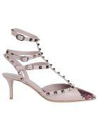 Valentino Garavani Rockstuds Ankle Strap Pumps - Poudre