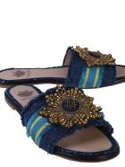 Mr & Mrs Italy Sandals With Embroidered Patch - BLU