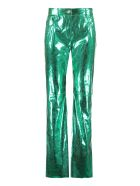 MSGM Snake Print Faux Leather Trousers - green
