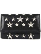 Jimmy Choo Leather With Stars Key Case - Black