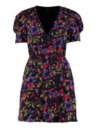 Saloni Lea Floral Wrap-dress - blue