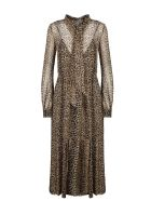 Saint Laurent Long Dress In Leoparded Georgette - Brown