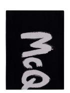 Alexander McQueen Wool And Silk Blend Scarf - black