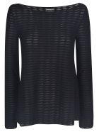 Emporio Armani Striped Lace Top - Nero