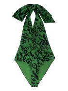 self-portrait Leopard Print One-piece Swimsuit - green