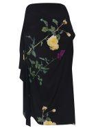 Dries Van Noten Flower Draped Skirt - Black/Multicolor