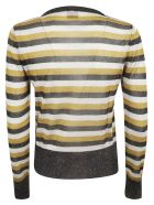 Happy Sheep Striped Print Jumper - Silver